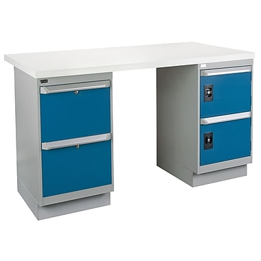 Kleton Workbench, Plastic Laminate Top, 2 Pedestals, 2 Drawers and 2 Doors, 36