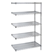 "Kleton Chromate Wire Shelving, 5 Shelves with Add-On Unit, 14""D x 74""H x 30""W"