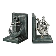 Sterling Industries 58287-80089 Set of 2 Coastal Decorative Bookends, Gannon Green/Silver