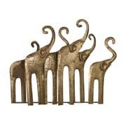 "Sterling Industries 582138-0199 18"" Papillion Elephant Herd Sculpture, Gold Leaf/Antique"
