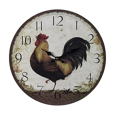 Sterling Industries 582118-0319 Rooster Wall Clock, White Face