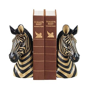 Sterling Industries 58293-12209 Set of 2 Zebra Decorative Bookends, Black/Gold