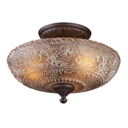 "Elk Lighting Norwich 58266191-39 10"" 3 Light Semi Flush Mount, Oiled Bronze"