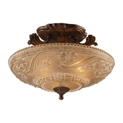 "Elk Lighting Restoration 58208101-AGB9 11"" 3 Light Semi Flush Mount, Golden Bronze"