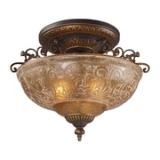 "Elk Lighting Restoration 58208099-AGB9 14"" 3 Light Semi Flush Mount, Golden Bronze"