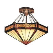 "Elk Lighting Filigree 582621-AB9 13"" 3 Light Semi Flush Mount, Aged Bronze"
