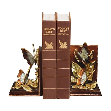 Sterling Industries 58291-45049 Set of 2 Butterflies Foraging Decorative Bookends, Multi