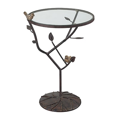 Sterling Industries Birds On A Branch Glass Side Table, Bronze, Each (582138-0549)