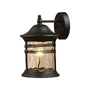 "Elk Lighting Madison 58208162-MBG9 14"" x 9"" 1 Light Outdoor Sconce, Matte Black"