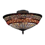 "Elk Lighting Jewelstone 582934-CB9 8"" 3 Light Semi Flush Mount, Classic Bronze"