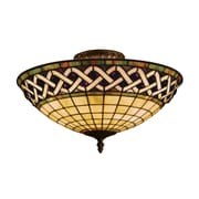 "Elk Lighting Angel Wing 582937-CB9 8"" 3 Light Semi Flush Mount, Classic Bronze"