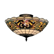 "Elk Lighting Tiffany Buckingham 582941-TB9 8"" 3 Light Semi Flush Mount, Vintage Antique"