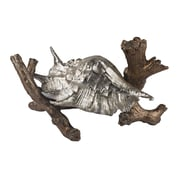 """Sterling Industries 582112-11519 8"""" Conch Shell On Branch Sculpture, Roxford Gold/Silver Leaf"""