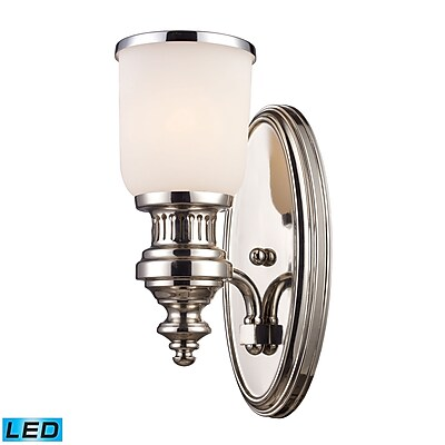 "Elk Lighting Chadwick 58266110-1-LED9 13"" x 5"" 1 Light Wall Sconce, Polished Nickel"