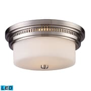 "Elk Lighting Chadwick 58266121-2-LED9 5"" 2 Light Flush Mount, Satin Nickel"