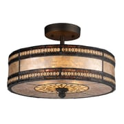 "Elk Lighting Mica Filigree 58270065-29 9"" 2 Light Semi Flush Mount, Tiffany Bronze"