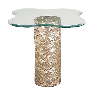 Sterling Industries Mini Flora Glass End Table, Gold, Each (58260417879)