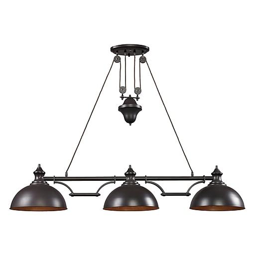 """Elk Lighting Farmhouse 58265151-39 11"""" 3 Light Island, Oiled Bronze"""