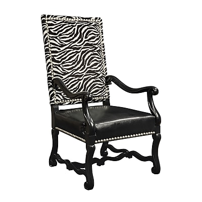 Sterling Industries Industries 58260710589 Satin Nickel/Ebony/Leather Arm Chair