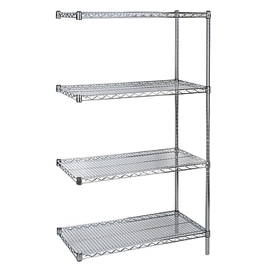 Kleton Chromate Wire Shelving, 4 Shelves with Add-On Unit, 14