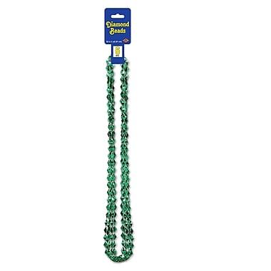 Perle en forme de diamant, 36 po, vert, paquet de 30