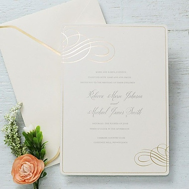 Gartner Studios Invitation & Envelope, Formal Gold Foil Swirl