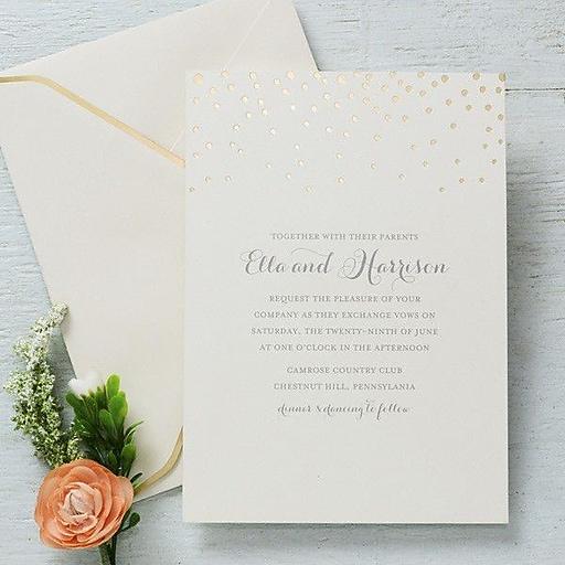 Printing Wedding Invitations At Staples: Gartner Studios Invitation & Envelope, Gold Foil Dots