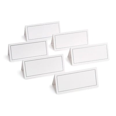 Gartner Studios Place Cards, White & Silver