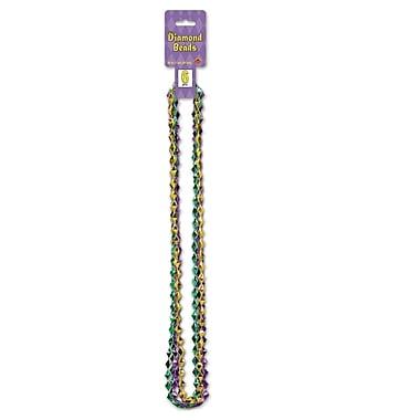 Perles en forme de losanges, 36 po, vert/doré/violet, paq./30