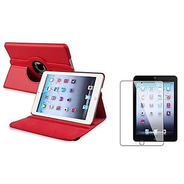 Insten 816056 Leather Swivel Stand Case for Apple iPad Mini with Retina Display Tablet, Red