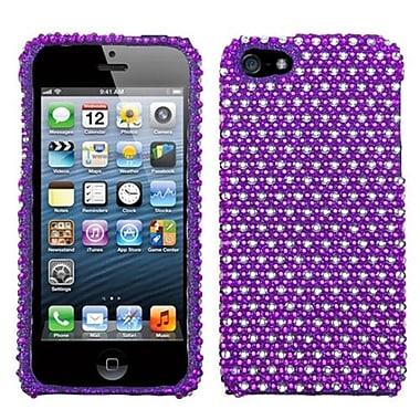 Insten® Diamante Phone Protector Cover F/iPhone 5/5S, Purple/White Dots