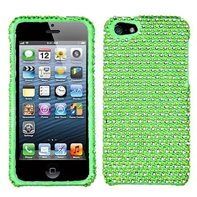 Insten® Diamante Phone Protector Cover F/iPhone 5/5S; Green/White Dots