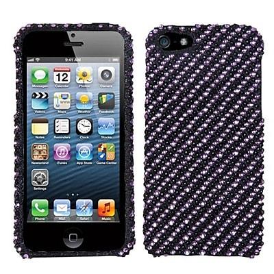 Insten® Diamantes Phone Protector Cover F/iPhone 5/5S; Purple/Black