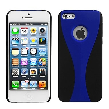 Insten Wave Rubberized Phone Back Protector Cover For iPhone 5/5S, Blue/Black (992903)