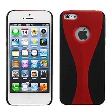Insten Wave Rubberized Phone Back Protector Cover For iPhone 5/5S, Red/Black (992906)