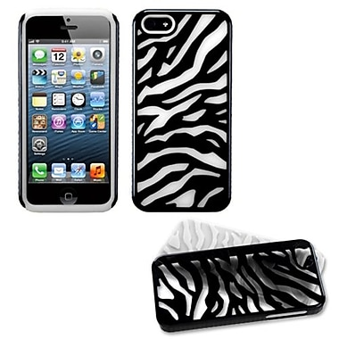 Insten Fusion Protector Cover For iPhone 5/5S, Natural Black Zebra Skin/Solid White (992921)