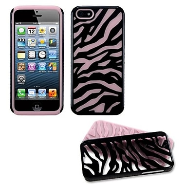 Insten® Fusion Protector Cover F/iPhone 5/5S, Natural Black Zebra Skin/Pink