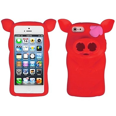 Insten® Pig Nose Cover F/iPhone 5/5S; Red