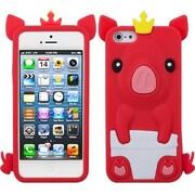 Insten® Pastel Skin Cover F/iPhone 5/5S, Red Crown Piggie