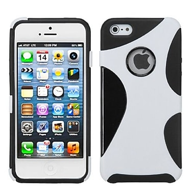 Insten® Cragsman Mixy Rubberized Phone Protector Cover F/iPhone 5/5S, White/Black