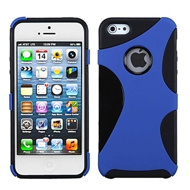 Insten Cragsman Mixy Rubberized Phone Protector Cover For iPhone 5/5S, Dark Blue/Black (1009287)