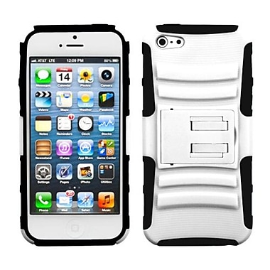 Insten® Protector Cover W/Advanced Armor Stand F/iPhone 5/5S, White/Black