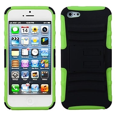 Insten® Protector Cover W/Advanced Armor Stand F/iPhone 5/5S, Black/Electric Green
