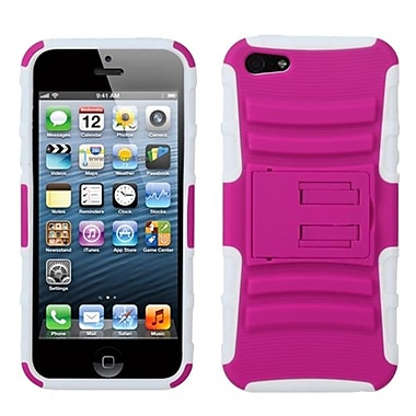 Insten® Protector Cover W/Advanced Armor Stand F/iPhone 5/5S, Hot-Pink/Solid White