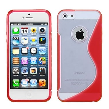 Insten® Gummy Cover F/iPhone 5/5S, Transparent Clear/Solid Red S-Shape