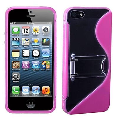Insten® Gummy Cover W/Stand F/iPhone 5/5S, Transparent Clear/Solid Hot-Pink S-Shape