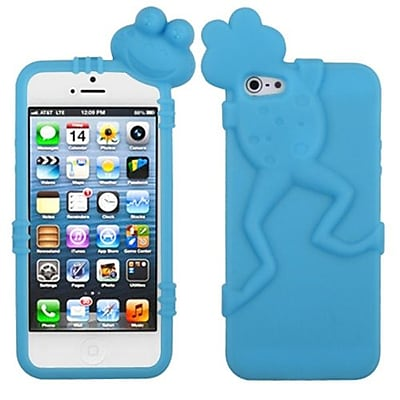 Insten® Frog Peeking Pets Skin Cover F/iPhone 5/5S, Baby Blue