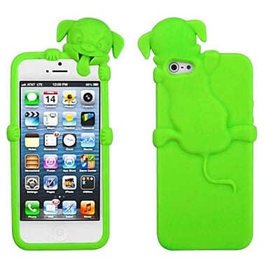 Insten Dog Peeking Pets Skin Cover For iPhone 5/5S, Electric Green (1009645)