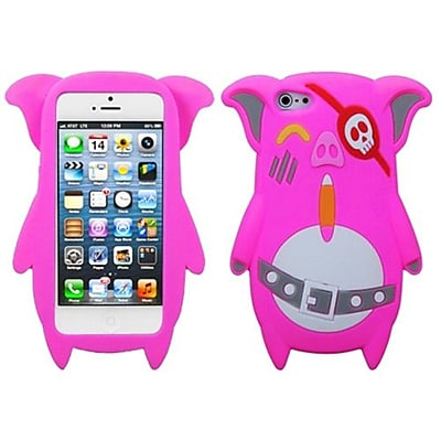 Insten® Pastel Skin Cover F/iPhone 5/5S; Hot-Pink Pirate