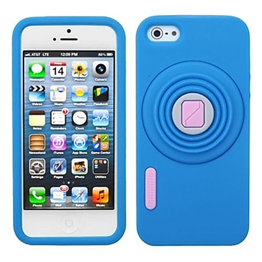 Insten® Pastel Skin Cover W/Camera Style Stand F/iPhone 5/5S, Dark Blue